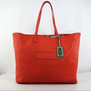 RARE Coach XL Logo Embossed Leather Tote Bag